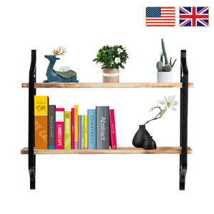 الأسهم في الولايات المتحدة المملكة المتحدة 2 tiers الرفوف العائمة الجدار رفوف الجدار الصناعي لغرفة المعيشة نوم مطبخ دخول الخشب تخزين الرف