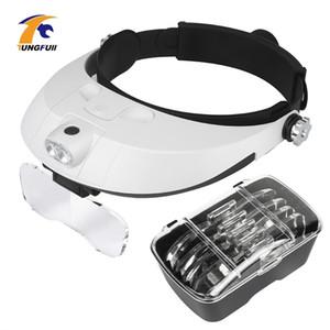 Headband Magnifier Multi-functional Illuminated Magnifier Magnifying Glass 1X 1.5X 2X 2.5X 3.5X Head Loupe Magnifier Repair Tool T200521