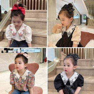 embroidered collar shirt new children simple fashion floral short sleeve shirt spring and summer 2020 RRAt#