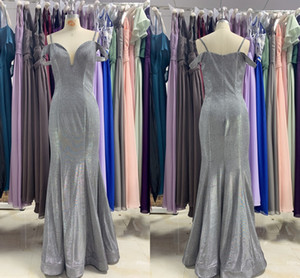 Glitter Sliver Cold Shoulder Bridesmaid Dresses 2021 Cheap Mermaid with Cap Short Sleeves Wedding Guest Evening Prom Formal party Dress