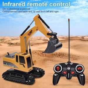 RC Trucks Mini Control Remoto Bulldozer 1:24 Aleación de ingeniería de plástico Coche Dump Trough Crane Excavator Vehículo eléctrico Juguetes Regalo 201105