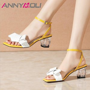 ANNYMOLI Natural Genuine Leather Sandals Ankle Strap High Heels Crystal Thick Heel Sandals Buckle Square Toe Lady Shoes White 42
