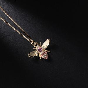 Nuevo producto Nuevo producto Mori Series Sencillo Collar de regalo Joyería de regalo Punto de preservación de color Diamond Bee Colgante Cadena de clavícula envío gratis