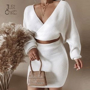 Justchicc de punto de dos piezas de vestido sin tirantes flaco otoño sólido suéter vestido de Cultivos superior y suéter vestido de las mujeres Trajes Establece 2019 C1009