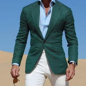 mens Dark Green Jacket suits With Ivory Pants 2020 Casual Wear Young Men Suit tuxedo Fashion Party Prom Vestidos (Jacket+Pants)