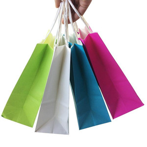 50PCS DIY Multifunction soft color paper bag with handles 21x15x8cm Festival gift bag High Quality shopping bags kraft paper