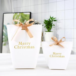 15pcs 50pcs Gold Print Merry Christmas Gift Box Ribbon Included Candy Cookie Biscuits Packing Bag Party Paper Bag Xmas Decor