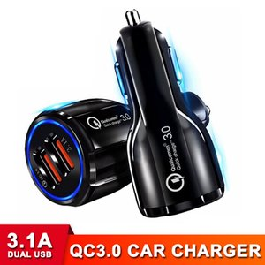QC 3.0 3.1A Dual USB Fast Charging Car Charger High Speed Adapter Quick Charger for Cell Phone Electronics