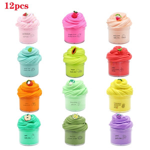 12pcs set Fluffy Slime Kit Fruit Clay Toy Super Soft Stretchy and Non Sticky DIY Sludge Toy Gifts for Girls and Boys 201226