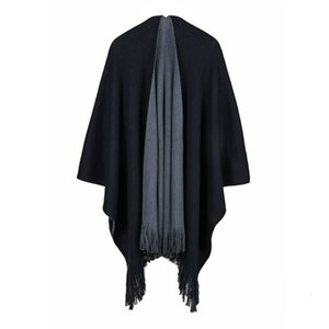 Autumn winter style thickened, simple and versatile AB double side split large shawl knitwear Cape warp knitting girl