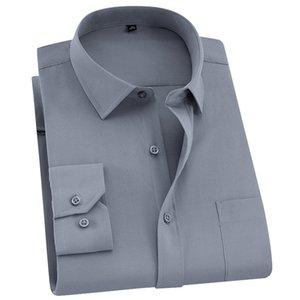 Qisha мужской с длинным рукавом бизнес умный повседневный сплошной цвет твил мужская одежда стройная профессиональная новая серая футболка социальной мужской q1231