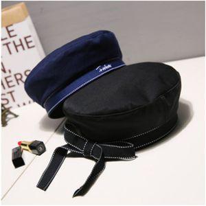 Versione Moda Nastro Ribbon Bow Beret coreana del berretto dell'uniforme uniforme monogramma ricamato ottagonale WS-2553 cap