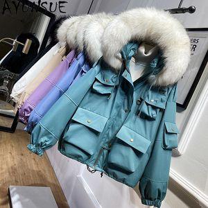 AYUNSUE Female Winter Parkas Women's Down Jacket 2020 Real Raccoon Dog Fur Collar Korean Coat Female Oversized Duck Down Jackets