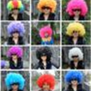 Rainbow Afro disco Clown Child Adult Costume Football Fan Wig Hair Halloween Fun