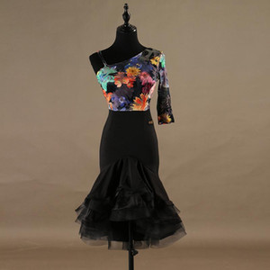 Fashion Latin Dancing Dress One-shoulder Flamenco Performance Skirt Adult Practice Rumba Chacha's Standard Wear 2 Colors B0098