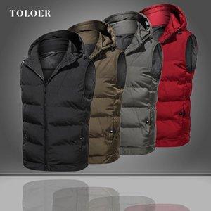 Men Casual Winter Warm Hooded Vest Male Zipper Sleeveless Jacket Coat Outwear Tops Light Mens Work Down Padding Vests Waistcoat