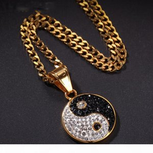 14k Gold Iced Out Rhinestone Stainless Steel Solid Black and White Yin Yang Tai Chi Gossip Pendant Necklace