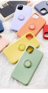 Flüssiges Silikon-Telefon-Kasten für iphone 12pro 11 Pro Max XS XR X 8 7 Plus-Fall mit Finger-Ring-Schnalle Stoß- Panzerabdeckteils