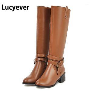 Lucyever Mulheres Grosso Salto Outono Botas de Inverno Feminino Feminino Fivela Plataforma Pu Couro Joelho Alta Botas Plus Size Senhoras Sapatos Brown1