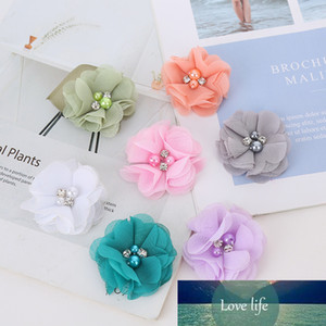 10PCS Pearl Rhinestone Chiffon Flowers Hair Accessories DIY Flower Bouquet Flowers Decorations No Hair Clips for Headband