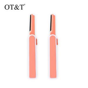 OT&T 2pcs set Retractable Macro Eyebrow Trimmer Hair Remover Facial Razor Blades Shaver Sharp Portable Set Makeup Tool Kit 0285