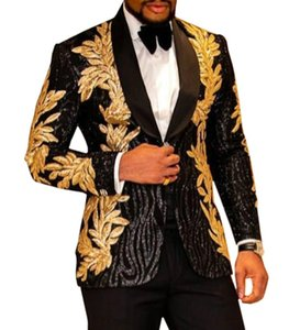 Aesido Luxury Prom Tuxedos Men Suits Shiny Sequin Gold Applique Party Jacket Blazer for Wedding Grooms 2021