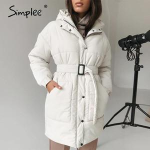 Simplee Moda cintura revestimento branco mulheres banda inverno elegante decote em v longa de algodão parkas femininos causal revestimento morno com chapéu 2020