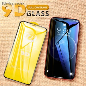 10pcs / lot temperli cam Ekran Koruyucu 9D iPhone 12 11 Pro XS Max 8 artı 7 6 6S e 5 5S Komple Tutkal Koruyucu Kapağı x