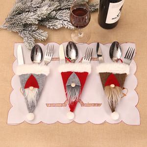 Çatal Bıçak Çatal Tutucu Gümüş Sofra Çanta Santa Gnome Ev Noel Partisi Tablo Yemeği Dekor JK2010XB