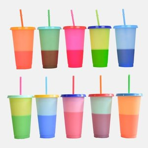 Magic Color Cup Skinny Tumblers Plastic Drinking Cup With Lid And Straw Candy Coffee Mug Water Bottles free fast sea shipping FFC2899