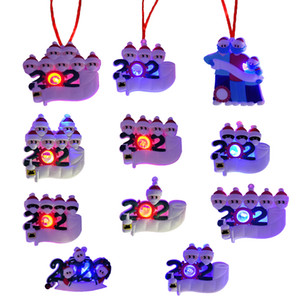 LED Christmas Quarantine Ornaments Flashing DIY Lumious Survivor Family Christmas Ornament Toilet Paper Hand Sanitizer Xmas Decorations
