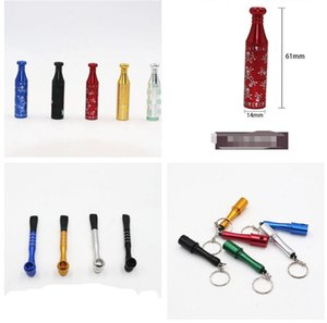 Newest Bottle Grenade Smoking Pipe Tobacco Dry Herbal Cigarette metal Hand Filter Pipes 5 colors 3 Styles With Keychain Tools Accessories