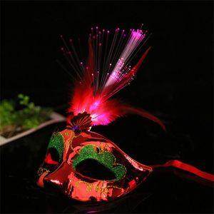 Fancy Fiber Light Up Mask Venetian Kleid glühende Masken Led Feder Maskerade Prinzessin Party Ndqbl