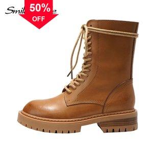 أعلى جودة الأحذية دراجة نارية الإناث جلد البقر الأحذية قصيرة ذات جودة عالية قصيرة شقة 124boots منصة الخريف الأحذية سيدة،
