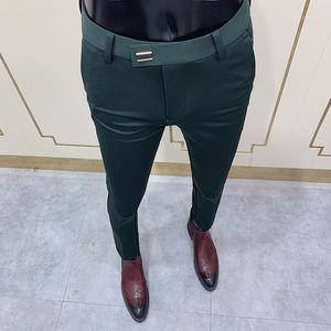 رجل السراويل الاجتماعية الأزياء ضئيلة زر البدلة بانت الرجال السراويل الأخضر شارع الملابس الرجال الأعمال سليم اللباس الصلبة دعوى بانت 1