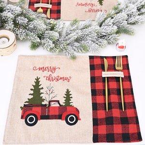 Car Christmas Tree Placemat Red Black Plaid Tablecloth Table Mat tableware Mat NewYear Christmas Home Dinning Kitchen Restaurant CFYL0030
