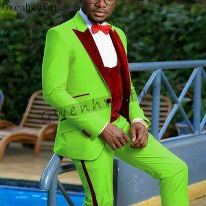 Bridalaffair Latest Coat Designs Men Slim Fit Tuxedo Groom Wedding Suits Custom Prom Blazer (Jacket+Pants+Vest)