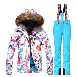 Gsou ski ski بدلة المرأة ماء سترة التزلج على الجليد السراويل الدافئة تنفس الجليد الدعاوى الثلوج الجبل التزلج البدلة Lady1