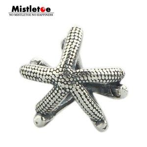 Mistletoe genuíno 925 Sea Star animal Prata Starfish Bead charme único europeu Troll 3,0 milímetros Jóias Y200918 Bracelet