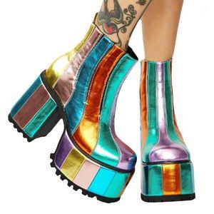 Новая высокая платформа Rainbow Boots L массы прозрачные ПВХ лодыжки сапоги конфеты цветные платформы пятна четкие короткие веревки обувь1