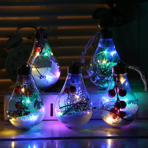 2020 new popular LED decoration transparent Christmas ball Christmas decorations Christmas tree pendant gifts color hollow ball wholesale