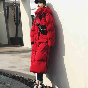 Bella philosophy women Solid Down Cotton Jacket female Winter Fashion Hooded Thicker Parkas pocket Warm Oversize Coat 201109