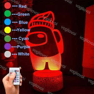 Night Lights Creative Cartoon Among Us Mini Crewmate 3D Acrylic Crack Base With Remote   Touch Control Colorful For Bedroom Livingroom DHL