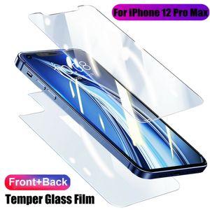 Templado película de vidrio para iPhone X XS XR 11 12 12 Mini Pro Max Anverso + trasera Protector de pantalla anti-astillado Cuerpo entero cubierta protectora