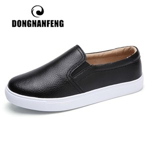 DONGNANFENG Women Ladies Female Gril Genuine Leather White Flats Platforn Sneakers Slip On Soft Vulcanized Shoes ZQMF-960 1006