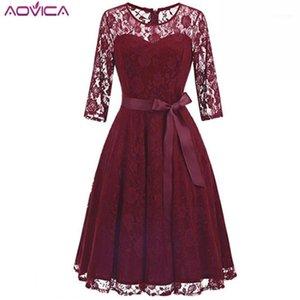 Aovica Robe Femme Nakış Vintage Dantel Elbise Kadın O Boyun Elbiseler Oymak 3/4 Kollu Rahat Akşam Parti A Hattı Vestidos1