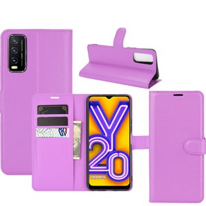 Violet For Vivo Y20 Lichi Magnetic PU Leather Wallet Card Holder Flip Phone Pouch Case Cover