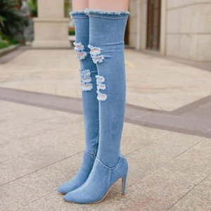 2020 Women Denim Over The Knee Boots 10cm High Heels Ripped Jeans Fetish Long High Thigh Boots Stiletto Stripper Cowboy Shoes #H52r