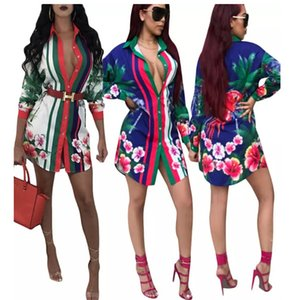 Women Sexy Club Floral Print Shirt Dress Casual Loose Dresses Long Sleeve Lapel Neck T shirt Dresses Fashion Blue fz3168