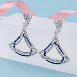 Luxury Fan-Shaped Earring For Women Top Quality Silver Plated Ear Studs Beautiful Cubic Zirconia Jewelry Earrings